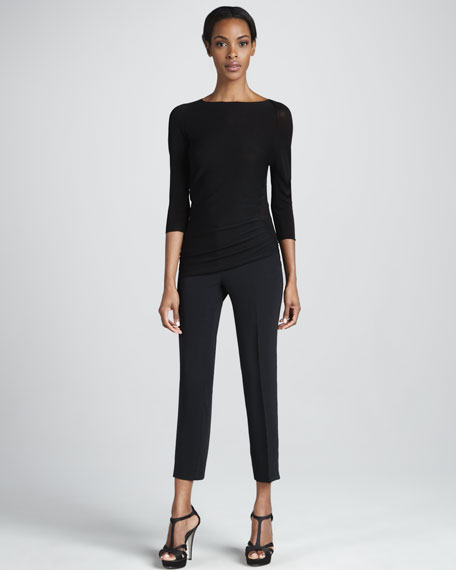 Cropped Ankle Pants, Black