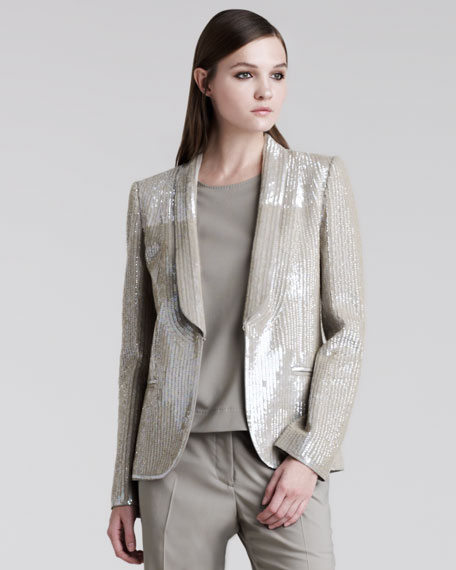Sequined Shawl-Collar Jacket