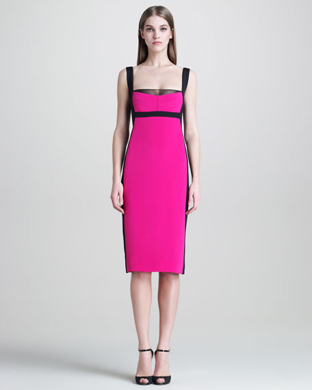 Colorblock Silk Sheath Dress