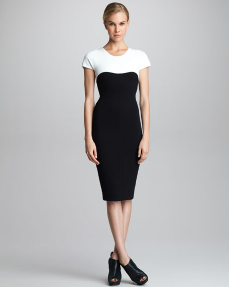 Contrast-Yoke Cap-Sleeve Dress