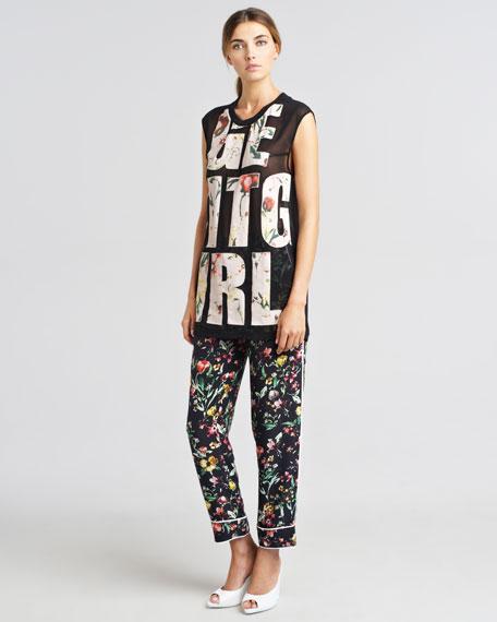 Botanical-Print Pajama-Style Pants