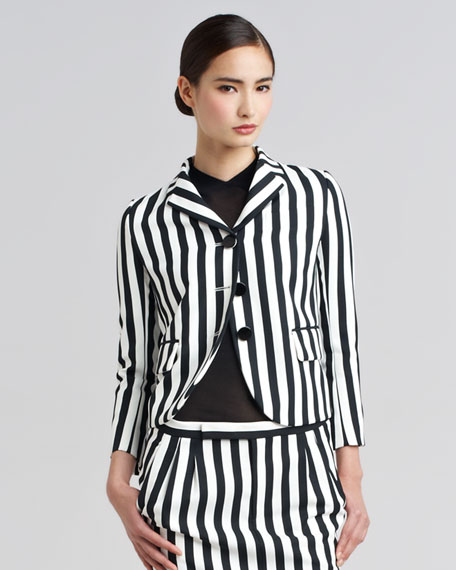 Striped Techno Twill Blazer