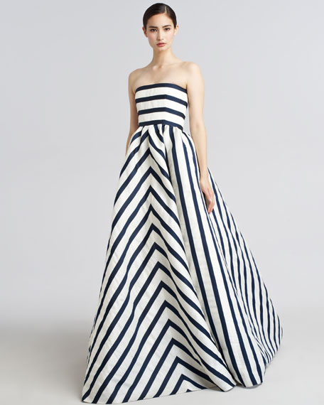 Strapless Striped Gazar Gown
