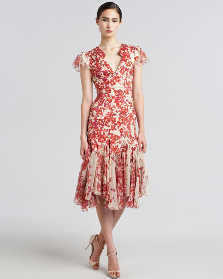 Hibiscus-Print Flared Dress