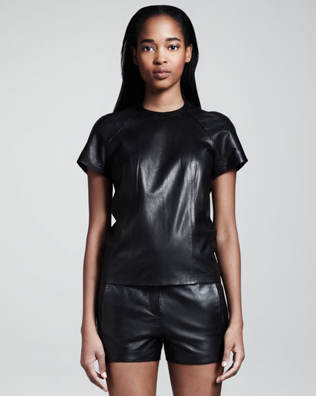 Leather Back-Zip Tee