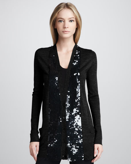 Sequin-Placket Cardigan