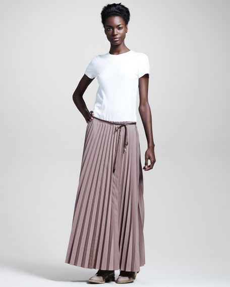 Pleated Drawstring Skirt, Cocoa