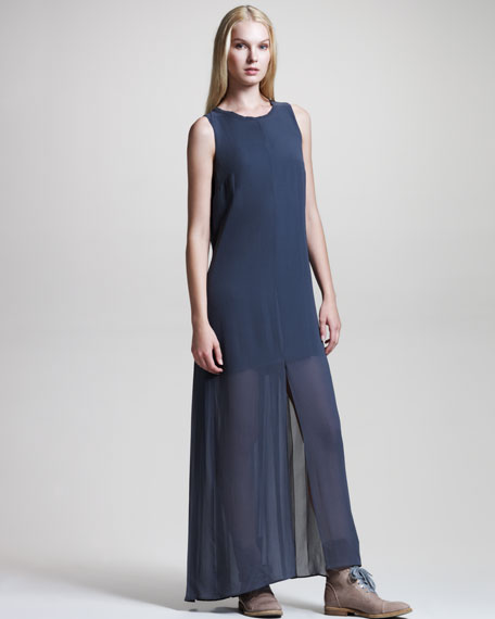 Sleeveless Silk Gown