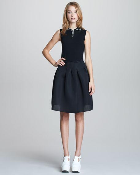 Sporty Mesh-Weave Skirt