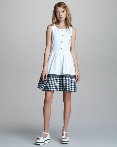 Button-Front Sleeveless Gingham-Hem Dress