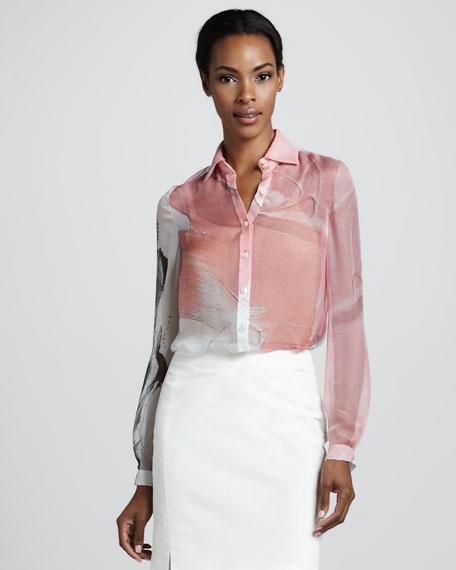 Printed Chiffon Blouse, Pink