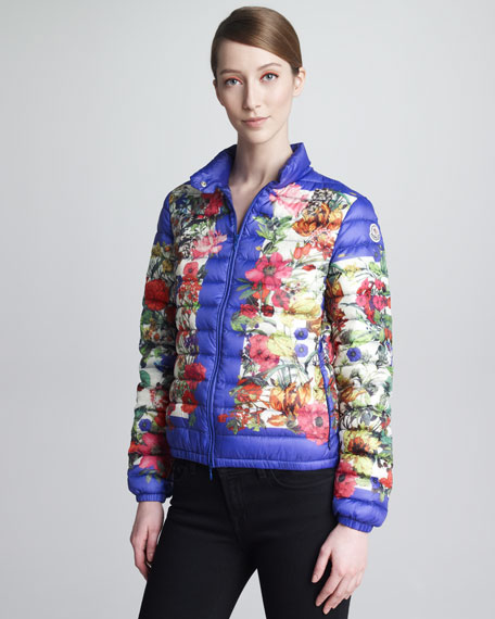Floral-Print Classic Puffer Jacket, Royal Blue