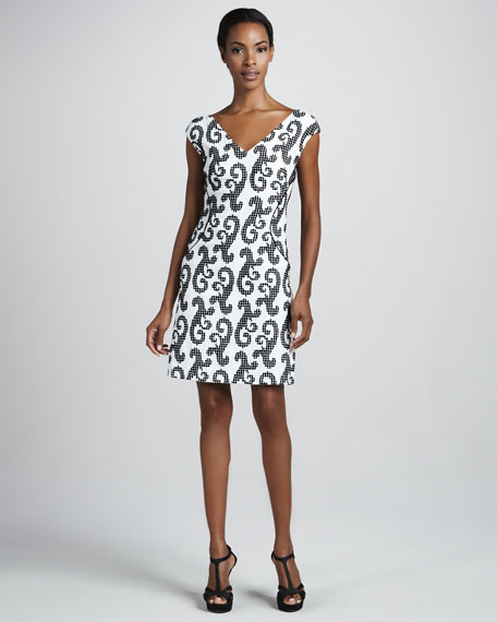Digital Swirl-Print Twill Dress, White/Black