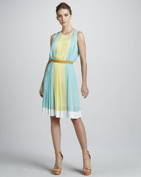 Plisse Pleated Colorblock Dress