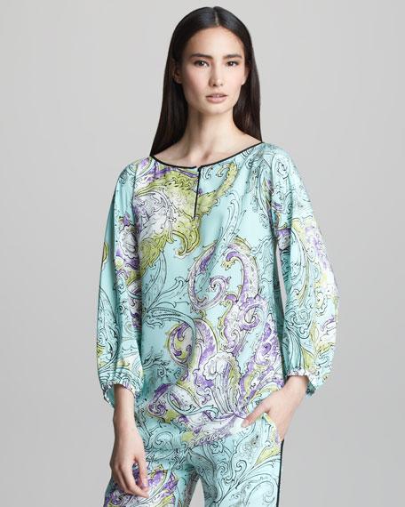 Paisley-Print Silk Top