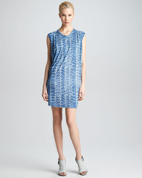 Reptile-Print Draped Dress