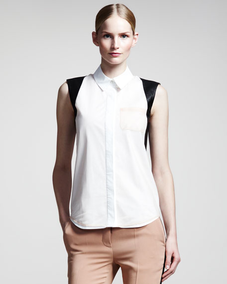 Leather-Trim Sleeveless Shirt