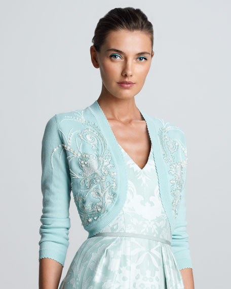 Embroidered Cropped Bolero, Seafoam