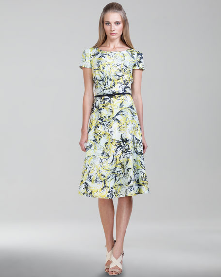 Vibrant Baroque-Print Twill Dress, Glacier
