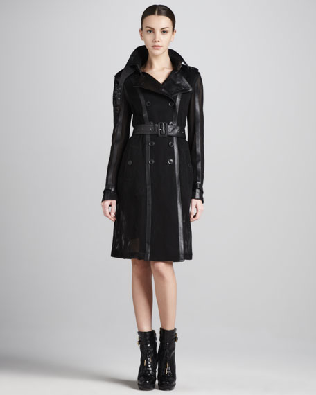 Mesh/Leather Trenchcoat