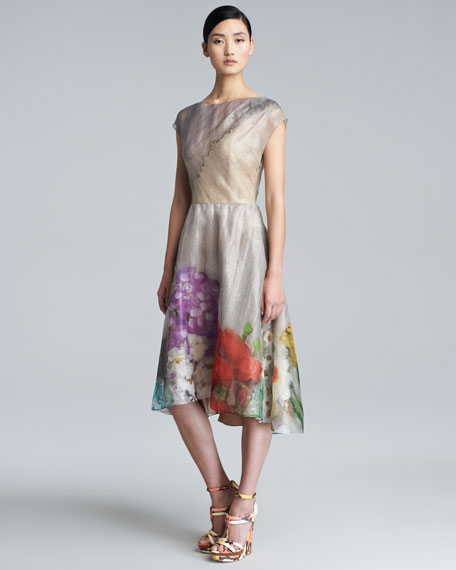Floral Organza Cap-Sleeve Dress