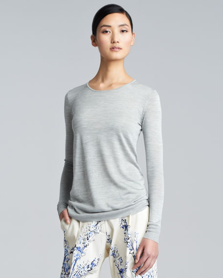 Long-Sleeve Crewneck Top, Gray