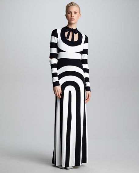 Pieced-Stripe Cutout Dress