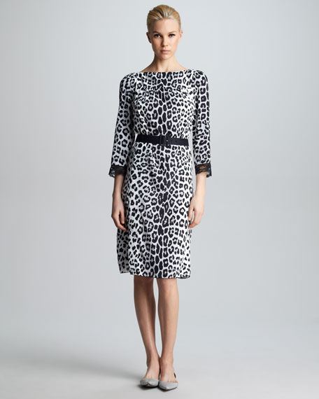 Belted Leopard-Print Dress