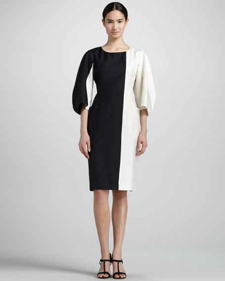 Bicolor Kimono-Sleeve Dress, Black/Cream