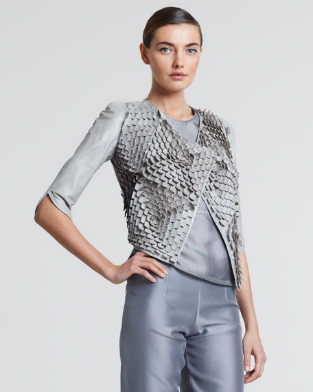 Laser-Cut Leather Jacket, Greige