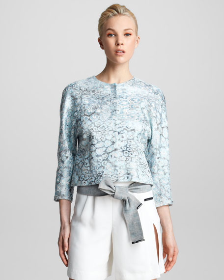 Floral Jacquard Swing Jacket
