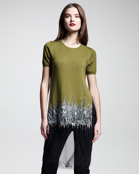 Embroidered Tulle-Trim Knit Top