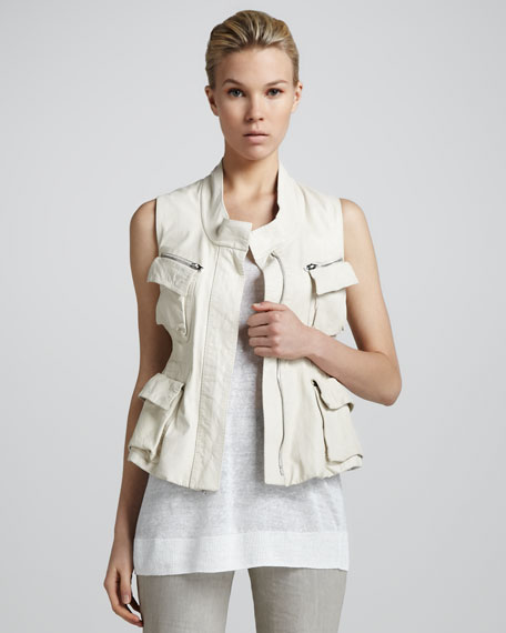 Zip-Front Drawstring Leather Vest, Sand