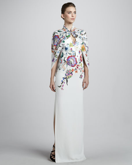 Floral Caped Gown