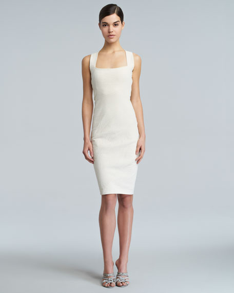 Spiral-Seamed Cross-Back Sheath Dress, Eggshell