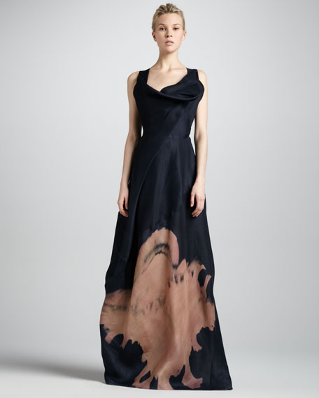 Cross-Back Sculpted-Neck Gown, Deep Blue Sea