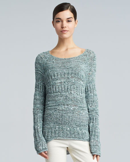 Wide-Neck Space Dye Sweater, Jade