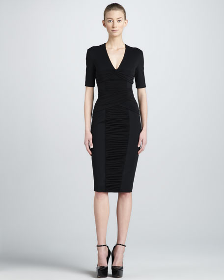 Ruched-Panel Sheath Dress