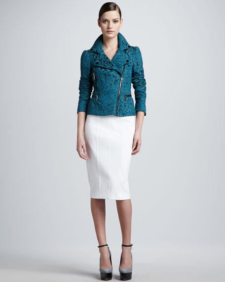 High-Waisted Knit Pencil Skirt