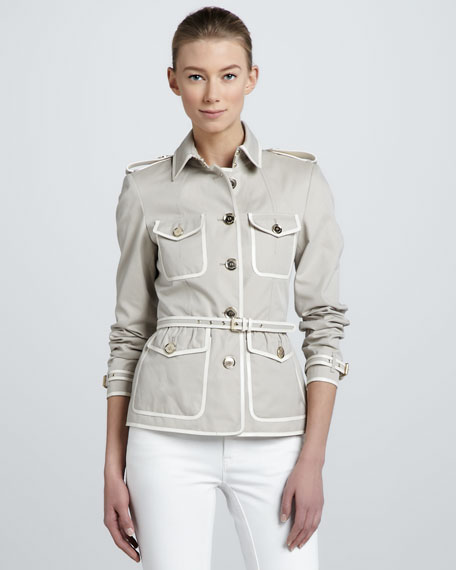 Contrast-Trim Short Trenchcoat