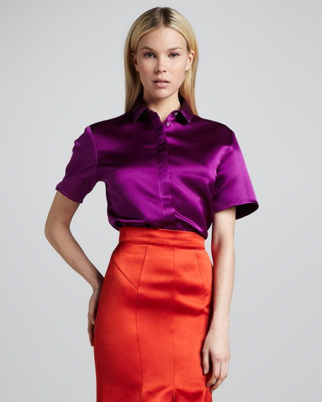 Short-Sleeve Satin Blouse
