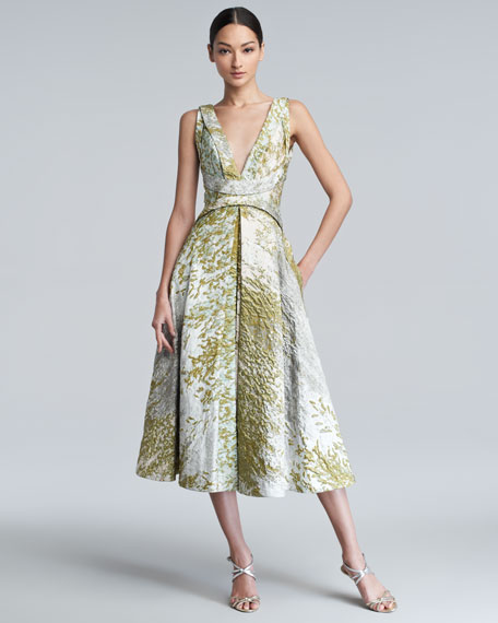 Textured Taffeta Dress, Pearl/Waterlily
