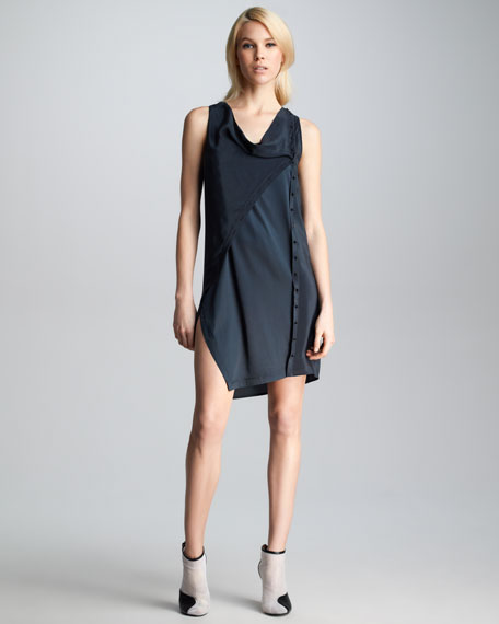 Twisted Placket Dress, Soft Black