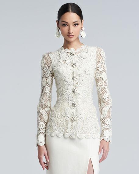 Long-Sleeve Floral-Embroidered Lace Jacket