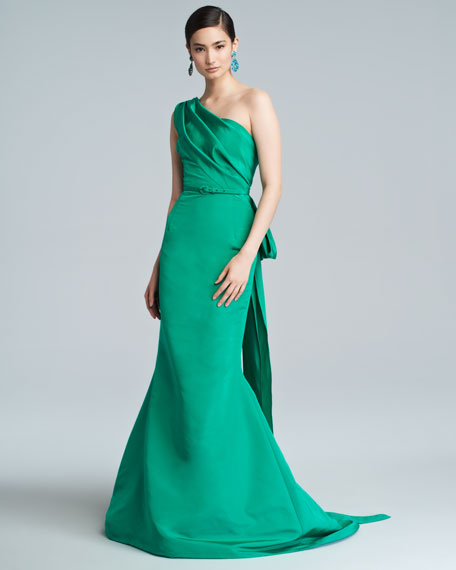 One-Shoulder Silk Faille Trumpet Gown, Clover