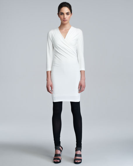 Three-Quarter-Sleeve Draped Tunic Dress, Ivory