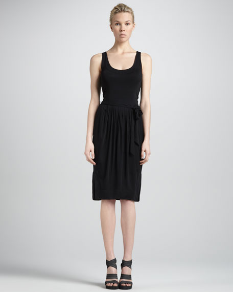 Self-Belted Sleeveless Jersey Dress, Black