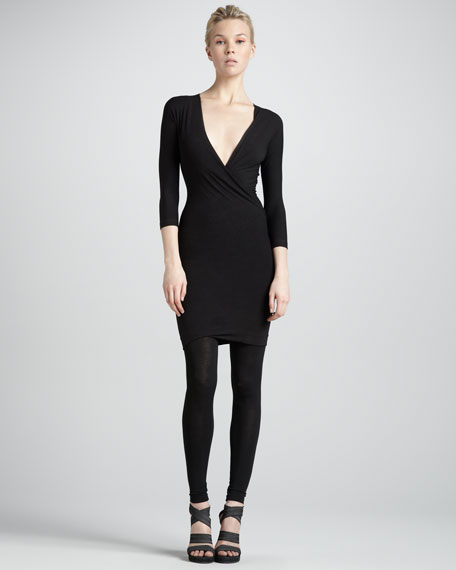 Twist-Drape Tunic Dress, Black
