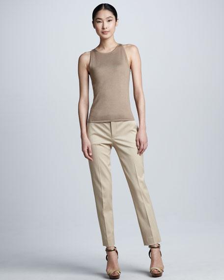Sheryl Stretch Wool Straight-Leg Pants, Burlap