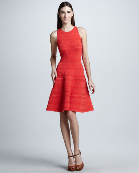 Lace Detailed Fit-and-Flare Dress, Coral